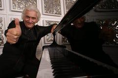 Pianist in zwarte royalty-vrije stock afbeeldingen