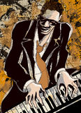 Pianista afroamericano di jazz Immagini Stock Libere da Diritti