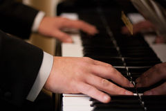 Pianista con el instrumento musical clásico del piano de cola Fotografía de archivo libre de regalías