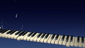 Pianista de Ghost que joga com as notas que aumentam do teclado na noite vídeos de arquivo