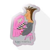 Pianista de la historieta de la caricatura Imágenes de archivo libres de regalías