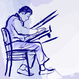 Pianista di jazz sulla fase nello stile dell'acquerello Fotografia Stock