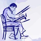 Pianista do jazz no estágio no estilo da aguarela ilustração royalty free