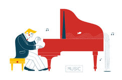 Pianista no piano Fotografia de Stock