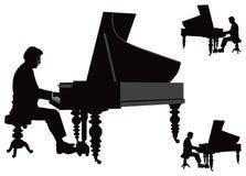 Pianista que joga no piano de cauda ilustração stock