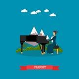 Pianiste jouant l'illustration de vecteur de musique dans le style plat Images stock