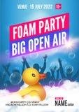 Piankowy Partyjny lata na wolnym powietrzu Piankowy partyjny plakata, ulotki projekta szablon z ludźmi lub bawi się Obraz Stock