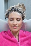 piankowy włosy jej kobieta obrazy stock