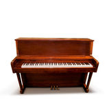 Piano. A wooden upright piano isolated on a white background stock images