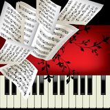 Piano. Vector background with notes Stock Images