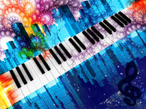 Piano. Musical instrument a piano on a background of city streets and patterns vector illustration