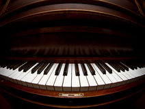 Piano. Extreme closeup of piano keys with fisheye lens royalty free stock photos