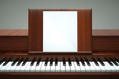 Piano. A play your own music, piano with paper on white Stock Photos
