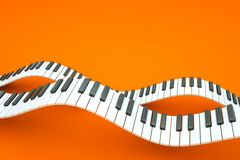 Piano. A piano keyboard waves on orange stock illustration