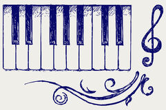 Piano. Doodle style. Vector sketch Royalty Free Stock Image