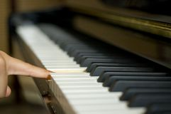 Piano. One finger press one key in piano keyboard Royalty Free Stock Image