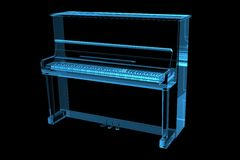 Piano 3D X-Ray Blue. Transparent vector illustration