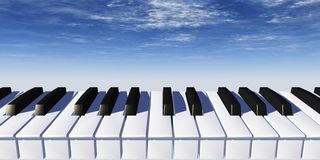 Piano. Keyboard and blue sky - 3d illustration Royalty Free Stock Photos