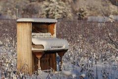 Piano abandonado en campo del invierno Fotos de archivo