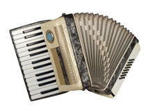 Piano accordion. Old piano accordion with artificial nacre texture, isolated over white, with clipping path stock photos