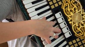 Piano Accordion Musician. Girl musician. Piano Accordion Musician stock video
