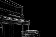 Piano antigo com trajeto Imagem de Stock