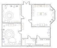 Piano astratto di vettore dell'appartamento ad una camera royalty illustrazione gratis