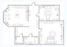 Piano astratto di vettore dell'appartamento ad una camera illustrazione di stock