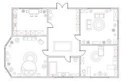 Piano astratto di vettore dell'appartamento a due camere illustrazione vettoriale