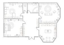 Piano astratto di vettore dell'appartamento a due camere royalty illustrazione gratis