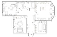 Piano astratto di vettore dell'appartamento a due camere illustrazione di stock