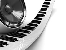 Piano and audio speaker. Abstract 3d illustration of piano and audio speaker background Royalty Free Stock Photo