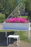 Piano avec des notes et pétunia fleurissant en dedans Instrument de musique de clavier Conception originale de paysage image libre de droits