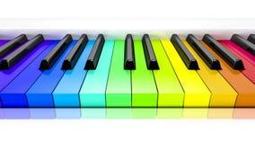 Piano avec le fond de clés colorées d'arc-en-ciel Photographie stock libre de droits