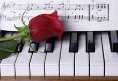 Piano avec Rose rouge Images libres de droits