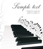 Piano background. Realistic piano keyboard and musical notes background Stock Image