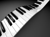 Piano background. Abstract 3d illustration of curved piano keyboard royalty free illustration