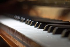 Piano background with selective focus Royalty Free Stock Photography