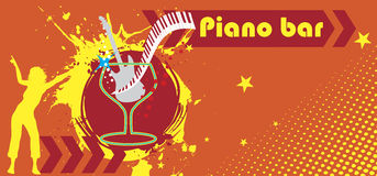 Piano bar banner Royalty Free Stock Photos