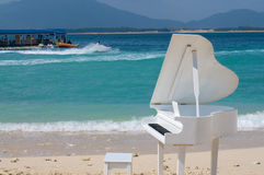 Piano on beach. Piano on the beach water Royalty Free Stock Image