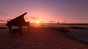 Piano on the beach fantasy Royalty Free Stock Image