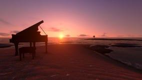 Piano on the beach fantasy royalty free illustration