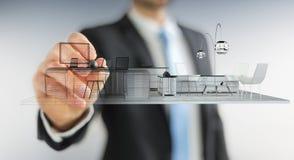 Piano bianco di disegno dell'appartamento della rappresentazione 3D di Businessmank illustrazione di stock