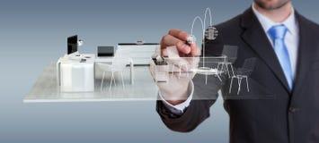Piano bianco di disegno dell'appartamento della rappresentazione 3D di Businessmank Fotografia Stock Libera da Diritti