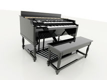 Piano black with chair Stock Photography