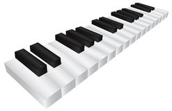 Piano Black and White Keyboard 3D Illustration. Piano Keyboard with Black and White Keys in 3D Isolated on White Background Illustration Royalty Free Stock Photo