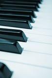 Piano black white keys. Closeup at an angle stock image