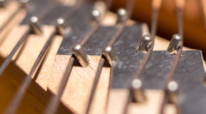 Piano bridge and strings closeup. stock image