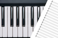 Piano buttons. Classical piano with leaf notes for royalty free stock photography