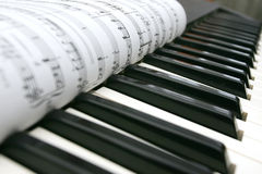 Piano buttons and notes Stock Images